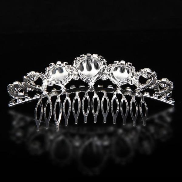 Bride Elegant Pearl Rhinestone Inlay Crown Tiara Hair Comb Wedding Accessories