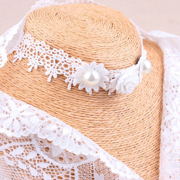 Gothic Retro White Lace Pearl Rose Necklace Wedding Bridal Accessories