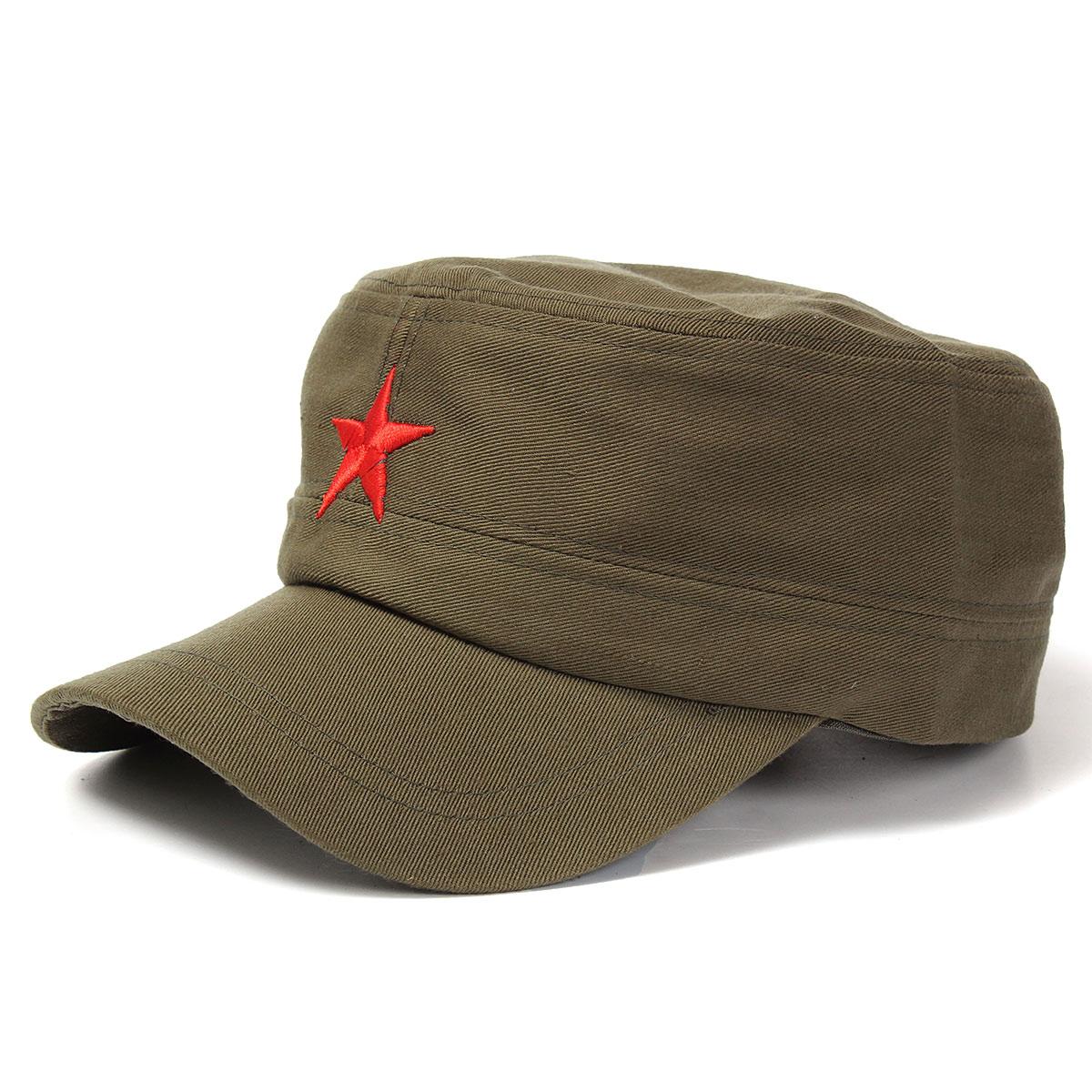 Unissex Estrela Vermelha Algodão Cadete do Exército Boné Militar Chapéu  Ajustável c5d3537eed6