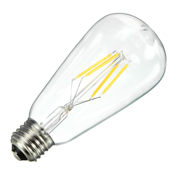 ST64 E27 4W Warm White 400LM COB LED Filament Retro Edison Bulbs 110-240V