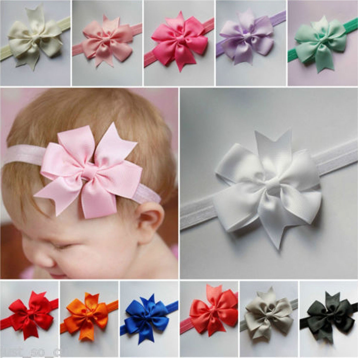 Cute Newborn Baby Kids Headbrand Infant Toddler Bow Hair Band Girls Accessories