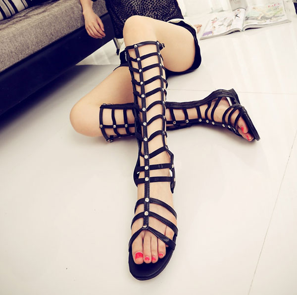 New Women Strappy Knee High Boots Open Toe Hollow Gladiator Zipper Closure Flat Sandals