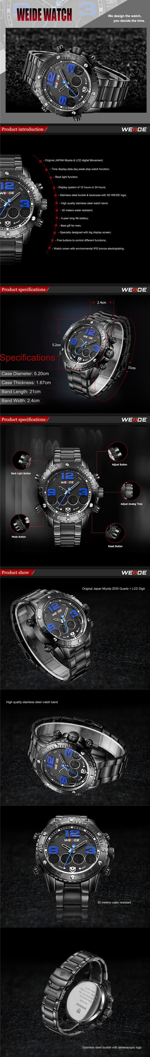 WEIDE Men Waterproof Stopwatch Stainless Steel Analog Digital Sport Watch