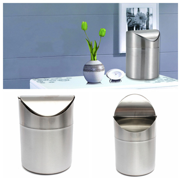 1.5L Stainless Steel Swing Lid Trash Can Home Bathoom Recycling Rubbish Bins