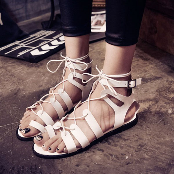 Womens Ring Toe Thong Strappy Cut Out Gladiators Flat Hollow Sandals Buckle Lace Up Shoes