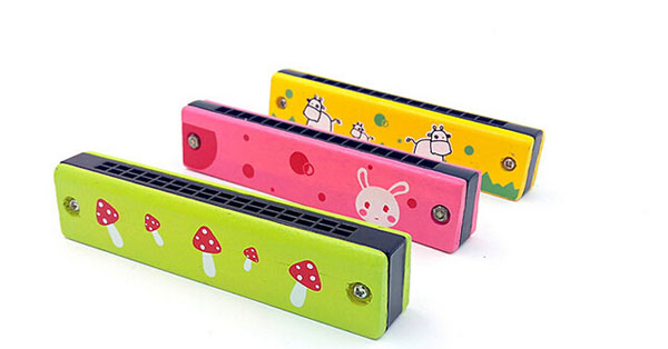 Baby Kids Child Colorful Wooden Harmonica Toy Educational Musical Instrument