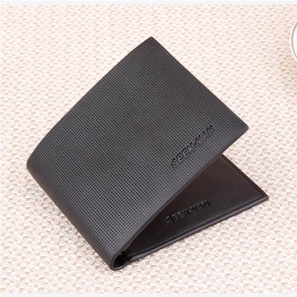Men Grid Wallet Short Style Campus Student Money Bag Black Brown Wallet