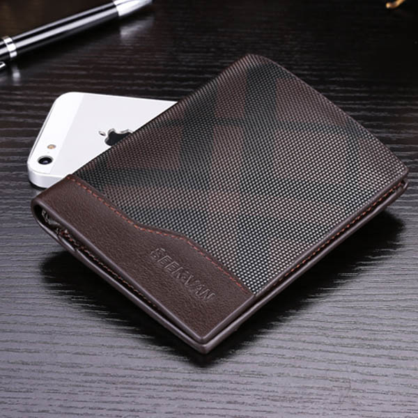 Men Cowhide Bifold Wallet Grid Vertical Horizontal Money Bag Purse