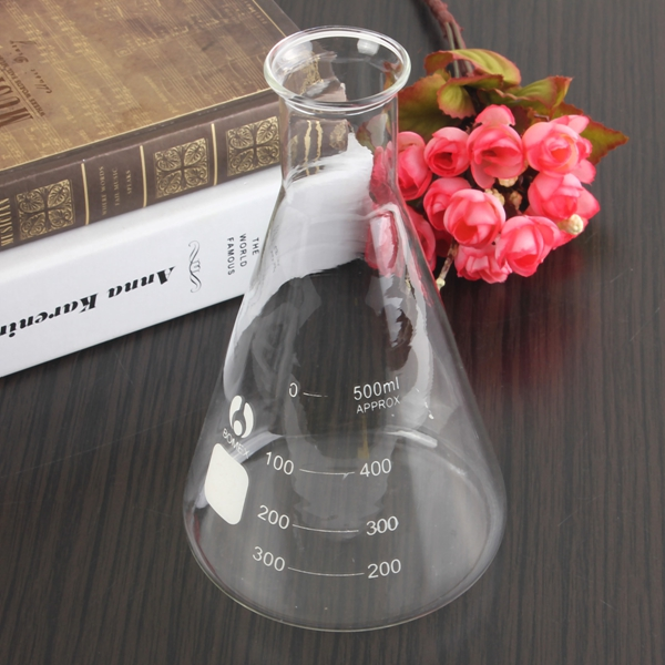 500ml 29/40 Graduated Narrow Mouth Glass Erlenmeyer Flask Conical Flask Ground Joints