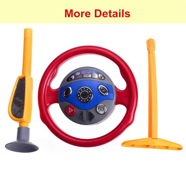 Kids Back Window Seat Toy Car Steel Ring Wheel Game Horn Electronic Sounds Light