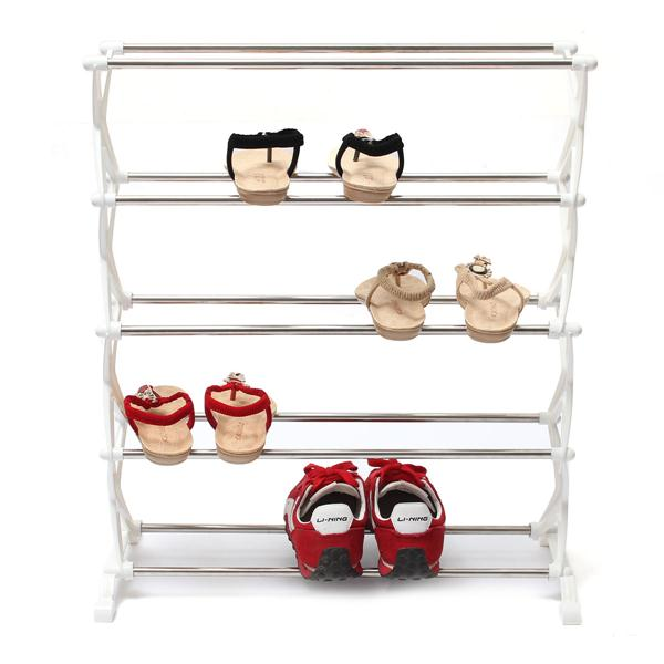 5 Tier 12 Pair Stackable Shoe Rack Storage Organizer Space Saving Shelf Closet