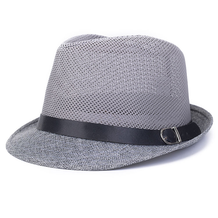 Unisex Hollow Braid Fedora Trilby Gangster Cap Beach Breathable Sun Flax Panama Hat