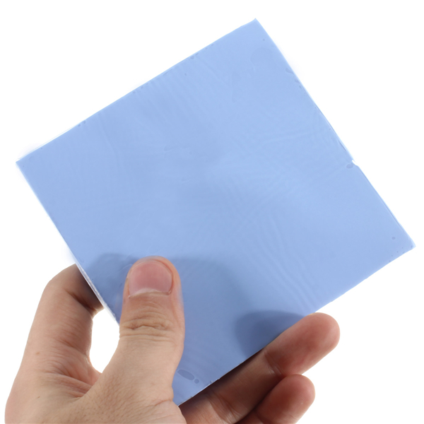 100mmx100mmx5mm GPU CPU Heat Sink Cooler Blue Thermal Conductive Silicone Pad