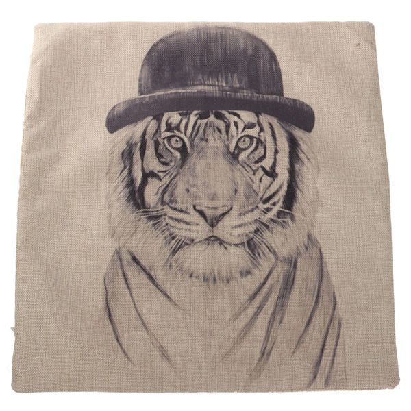 Cotton Linen Animal Throw Pillow Case Home Office Cushion Cover