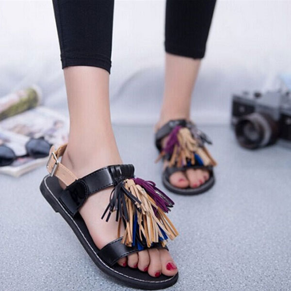 Summer Women Tassels Fringe Slingback Flat Sandals Moccasins Shoes