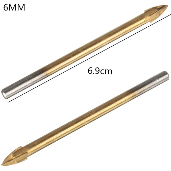 Titanium Carbide Glass Drill Bit Cross Spear Point Head Drill Bit For Wall Ceramic Tile