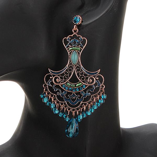 Vintage Rhinestone Crystal Hollow Beads Tassel Earrings Ear Drops