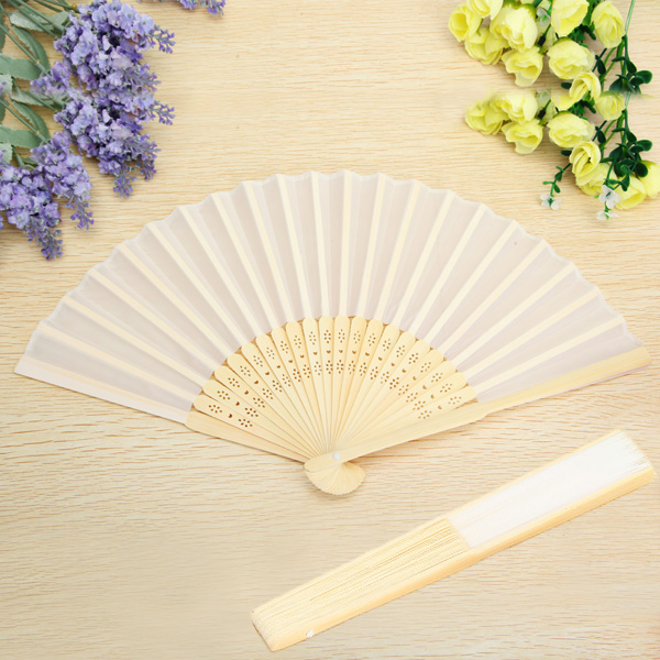 Fabric Hand Fans White Silk Folding Fan Wedding Party Favor