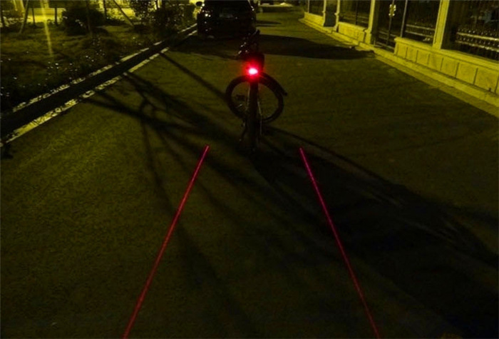 Bike Bicycle LED Laser Beam Rear Tail Light Safety Emergency Light Alarm Lamp