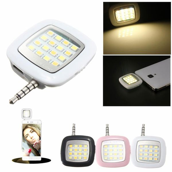 3.5mm Jack Smart Selfie 16 LED Camera Flashlight For IOS Android iPhone 5s 6 6+