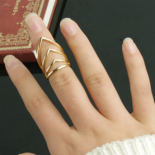 Punk Gold Silver Metal V Shaped Arrow Midi Knuckle Ring Women Jewelry