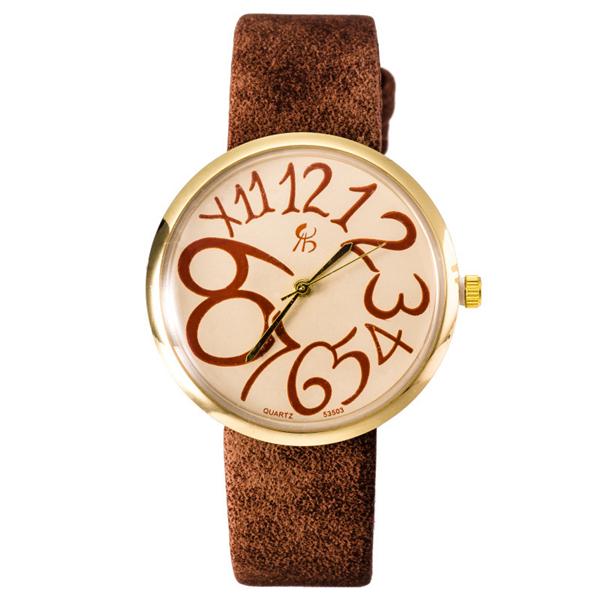 Fashion Vintage Women Big Number Round Dial PU Quartz Watch