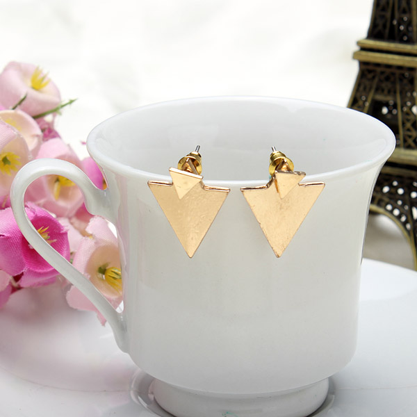 Punk Gold Silver Geometric Triangle Stud Fashion Earrings Jewelry for Women