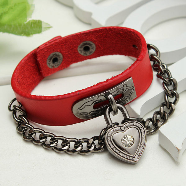 Gothic Punk Heart Lock Pendant Leather Bracelet Cuff Bangle Wristband