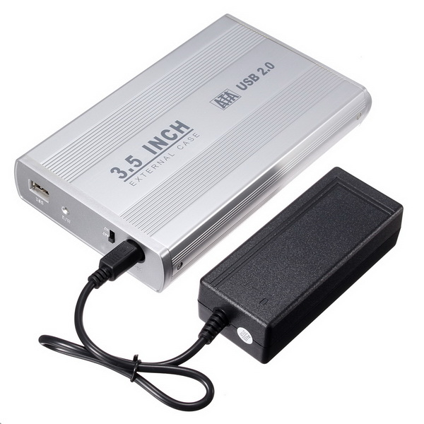 3.5 Inch USB 2.0 SATA HDD Hard Drive External Enclosure with Power Supply