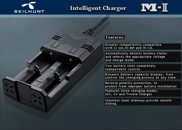 SKILHUNT M2 AA AAA 18650 26650 16340 Intelligent Battery Charger