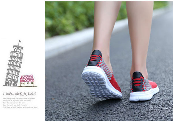New Korean Hand knitting Woman Casual Flat Sport Shoes
