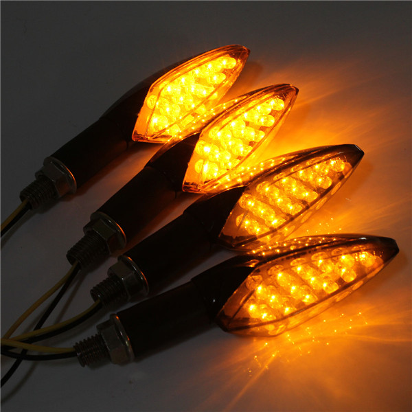 12V Universal Motorcycle 15LED Turn Signal Indicator Light Amber Smoke Lens Long Handle