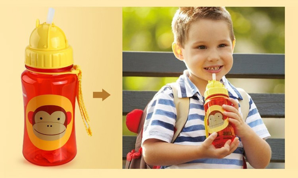 Baby Kid Lovely Zoo Cartoon Animal Straw Cup Water Bottle Non-toxic Bpa Free Drinking Cup