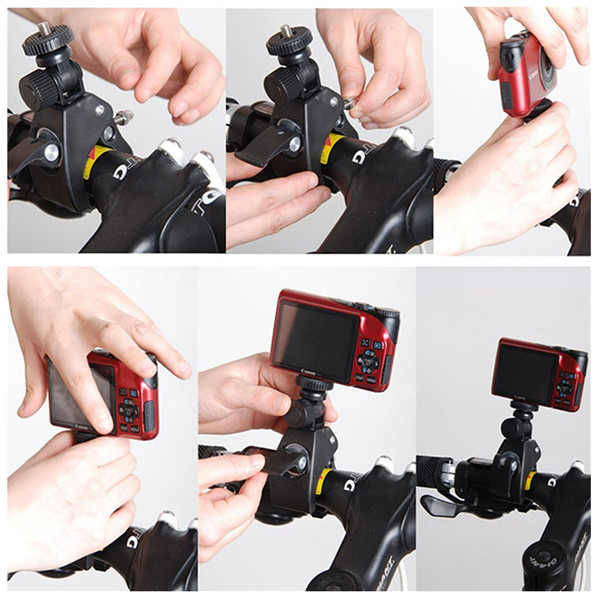 Bike Handlebar Clamp Roll Bar Mount With Adapter For Gopro 2 3 3 Plus 4 XiaoMi Yi SJcam