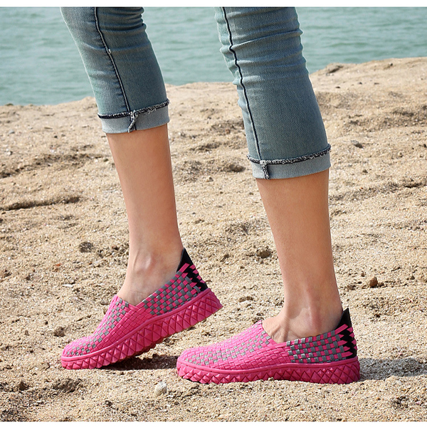 Women Hand-made Knit Shoes Light Weight Breathable Walking Shoes Outdooors Flats