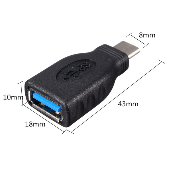 USB Type C Male To USB 3.0 A Female Data Connector Adapter For 12 Inch MacBook PC Tablet