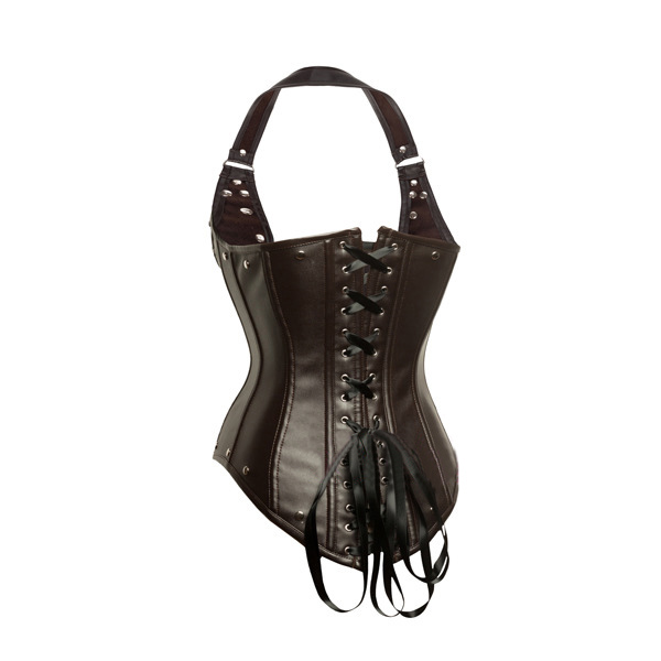 Sexy Leather Adjustable Strap Underbust Rivet Corset Bustier