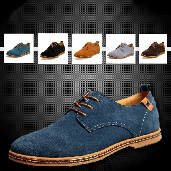 Mens Casual Business Gray Tide Leather Shoes