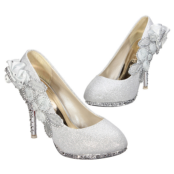 Glitter Flower Pump Wedding Party Crystal High Heels Women Shoes
