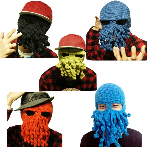 Unisex Winter Warm Knitted Crochet Wool Ski Face Mask Octopus Squid Cap Beanie Hat