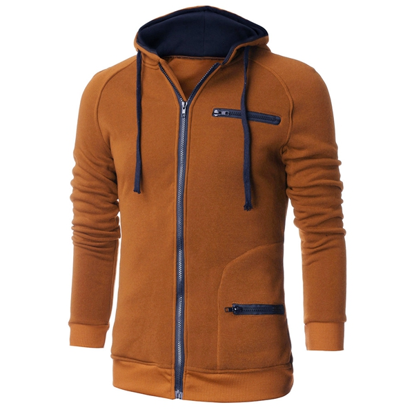 Men Spring Fall Cotton Polyester Color Matching Zipper Hoodie Coat