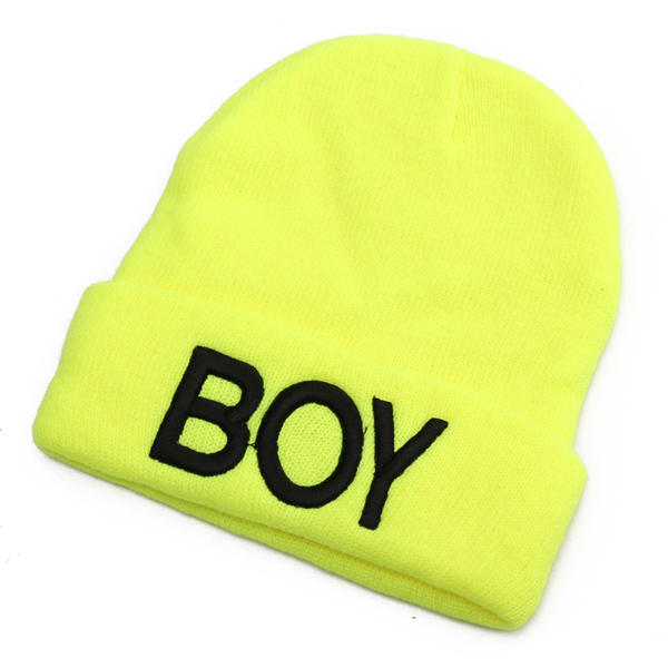 Baby Boy Toddler Knitted Woolen Skull Hats Letter BOY Beanie Head Cap