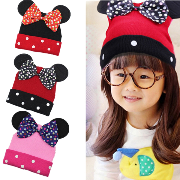Baby Boys Girls Knitted Caps Bowknot Minnie Mouse Dot Baby Beanie Cute Warm Hats