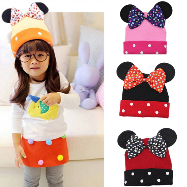 Baby Boys Girls KnittedCaps Bowknot Minnie Mouse Dot Baby Beanie Cute Warm Hats