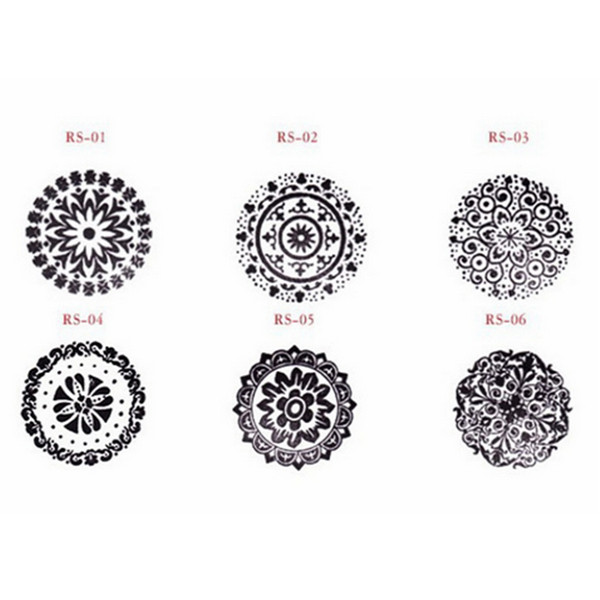Wooden Round Vintage Floral Flower Pattern Retro Rubber Stamp Wedding