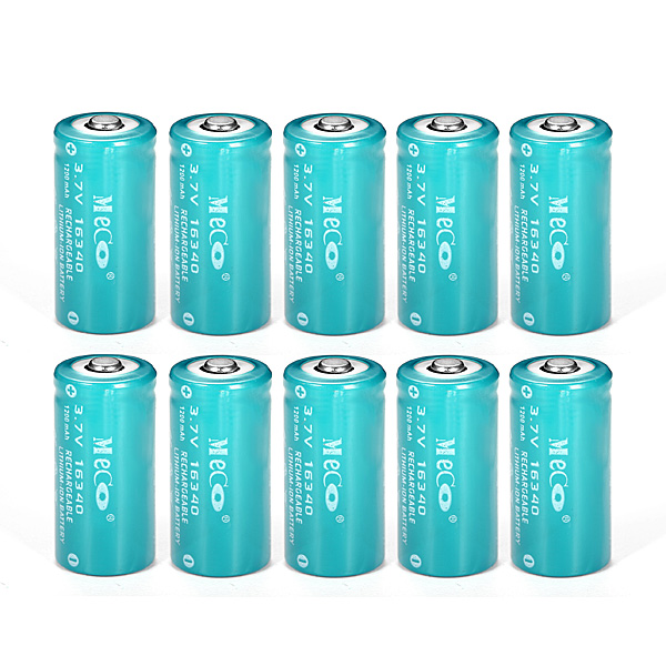 Image of 10pcs meco 3.7v 1200mah reachargeable cr123a/16340 Li-Ionsbatterie