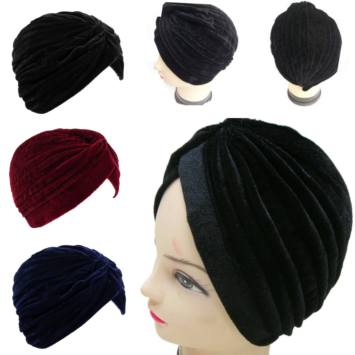 Women Lady Soft Velvet Indian Turban Cap Head Hat Wrap Band Hair Cover Headband