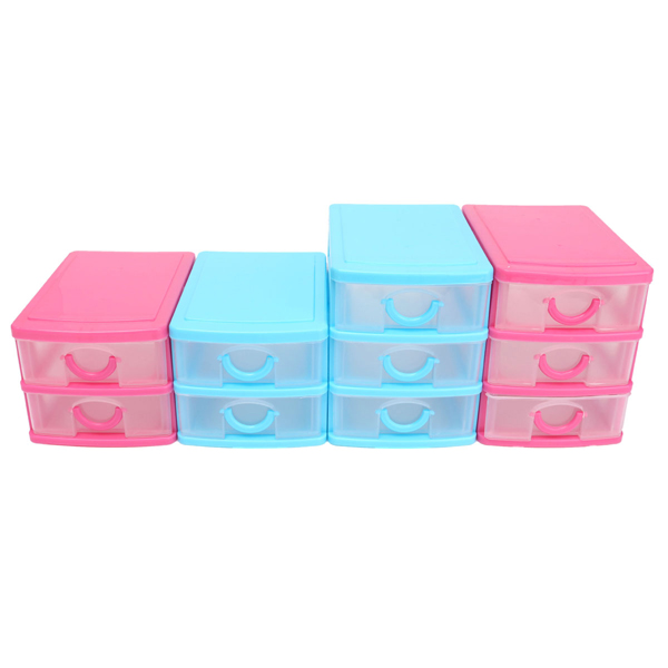 Plastic Drawers Jewelry Storage Bins Box Organizer Holder Desktop Cabinet Case
