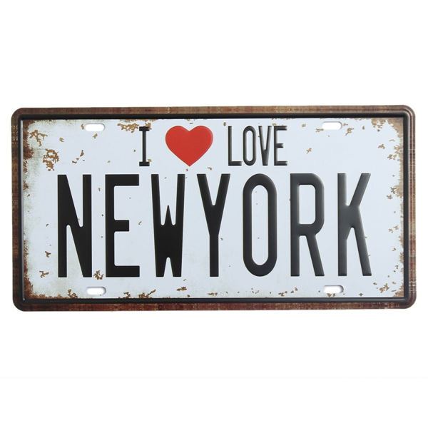 New York License Plate Tin Sign Vintage Metal Plaque Poster Bar Pub Home Wall Decor