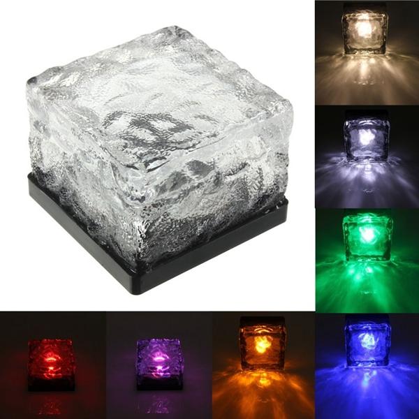 Solar Power Colorful LED Floating Light Waterproof Pond Pool Outdoor Path Brick Floor Lamp